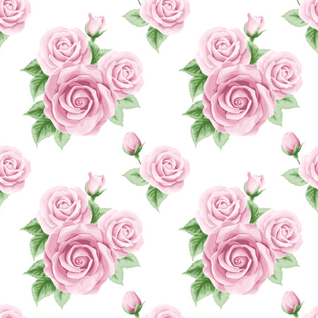 Vintage seamless pattern with roses. Vector illustration