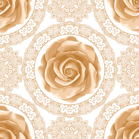 Vintage seamless pattern with roses and golden lace on white background. Vector illustration Stock Illustratie