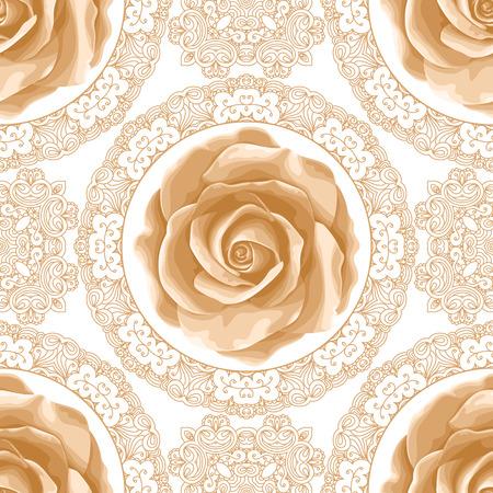 Vintage naadloze patroon met rozen en gouden kant op een witte achtergrond. Vector illustratie