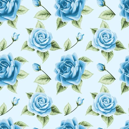 Jahrgang nahtlose Muster mit bunten Rosen auf hellblauem Standard-Bild - 39729608