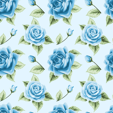 Vintage seamless pattern with colorful roses on light blue Illustration