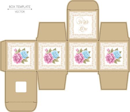 バラとゴールデン レース フレーム ボックス デザイン。金型プレス。ベクトル テンプレート