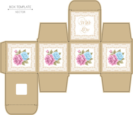 Box design with roses and golden lace frame. Die-stamping. Vector template