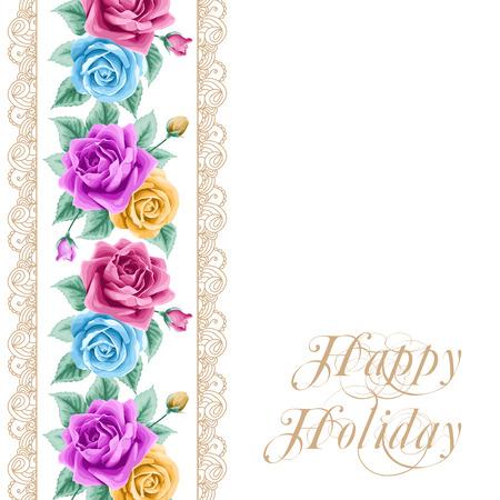 encaje: Tarjeta de la flor de la vendimia con las rosas de colores y encajes de oro sobre fondo blanco. Ilustraci�n vectorial