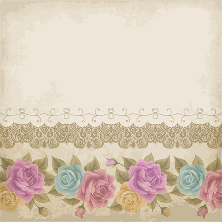 Retro background with colorful roses, lace border and old paper. Vector illustration.