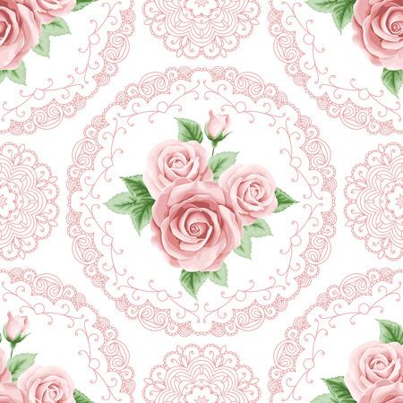 Jahrgang nahtlose Muster mit bunten Rosen und Spitze-Rahmen auf weißem Hintergrund. Shabby chic Vektor-Illustration Standard-Bild - 40212833
