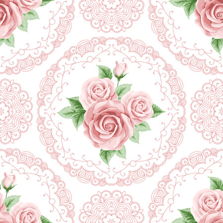 Vintage seamless pattern with colorful roses and lace frames on white background. Shabby chic vector illustration Illustration