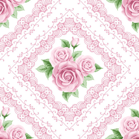 Vintage seamless pattern with colorful roses and lace frames on white background. Shabby chic vector illustration Ilustração