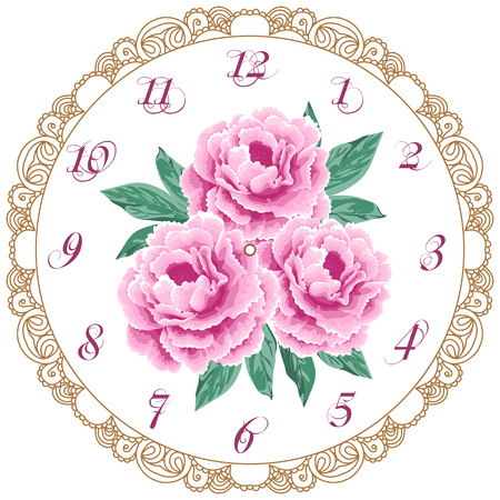 Vintage clock face with peonies. Shabby chic vector illustration