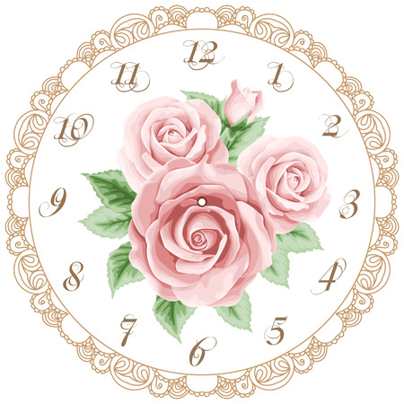 Vintage clock face with roses. Shabby chic vector illustration