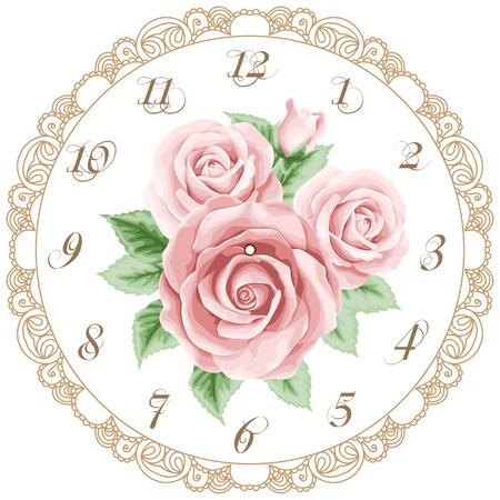 Weinlese-Uhr-Gesicht mit Rosen. Shabby chic Vektor-Illustration Standard-Bild - 40300774