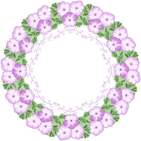 Vintage flower frame with geraniums and lace frame. Place for your text. Greeting card, invitation template. Vector Illustration
