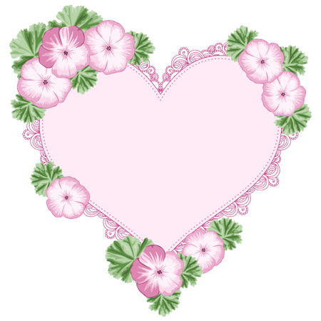 Vintage flower frame with geraniums and heart lace frame. Place for your text. Greeting card, invitation template. Vector Illustration