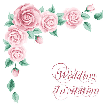 Vintage wedding invitation with roses. Save the date design. Hand drawn vector illustration
