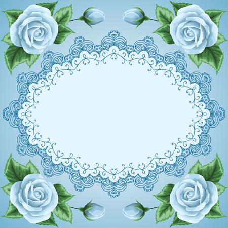 Vintage frame with roses and lace frame. Place for your text. Invitation, greeting card template