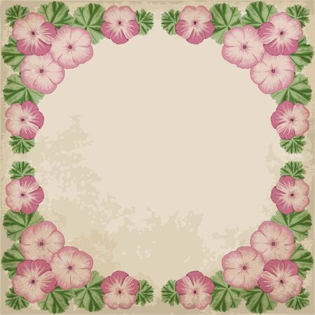 Retro background with colorful geraniums and old paper. Vector illustration. Illustration