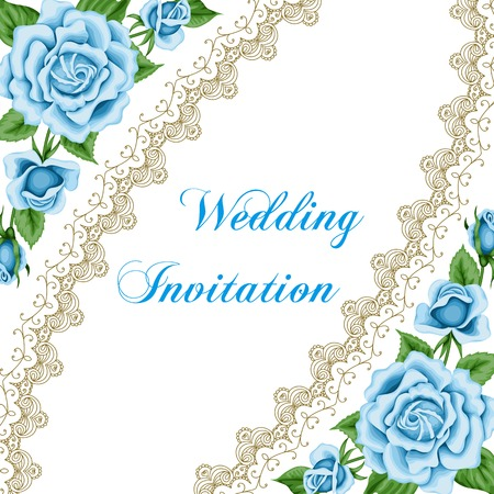 Vintage wedding invitation with blue roses and lace border. Save the date design. Hand drawn vector illustration