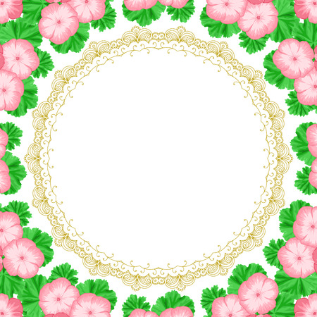 Vintage frame with geraniums and lace frame. Place for your text. Invitation, greeting card template Illustration