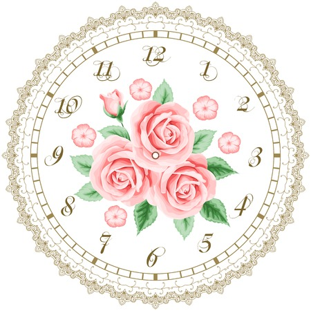 Vintage clock face with roses. Shabby chic vector illustration Vector