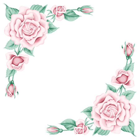 Vintage frame with pink roses. Place for your text. Invitation, greeting card template Illustration