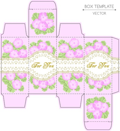 Vintage box design with geraniums and golden lace frame. Shabby chic illustration. Die-stamping. Vector template