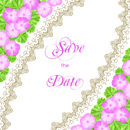 Vintage wedding invitation with geraniums and lace border. Save the date design. Hand drawn vector illustration