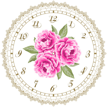 shabby chic: Vintage clock face with peonies. Shabby chic vector illustration