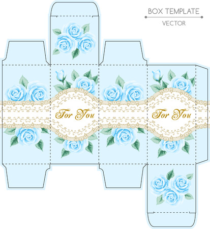 gift packaging: Vintage box design with roses and golden lace frame. Shabby chic illustration. Die-stamping. Vector template