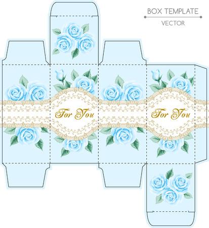 Weinlese-Box-Design mit Rosen und goldenen Spitzen Rahmen. Shabby chic Illustration. Praegung. Vektor-Vorlage Standard-Bild - 41197691