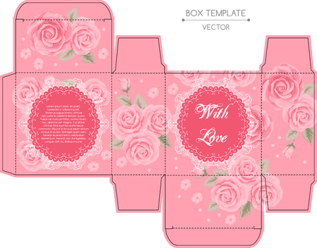 box design: Vintage box design with roses. Shabby chic illustration. Die-stamping. Vector template Illustration