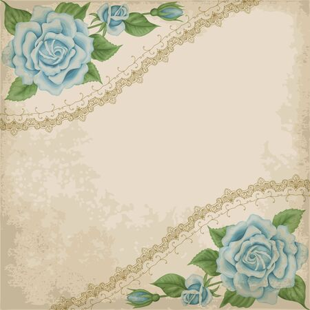 Retro background with colorful roses, lace border and old paper. Shabby chic vector illustration. Illustration