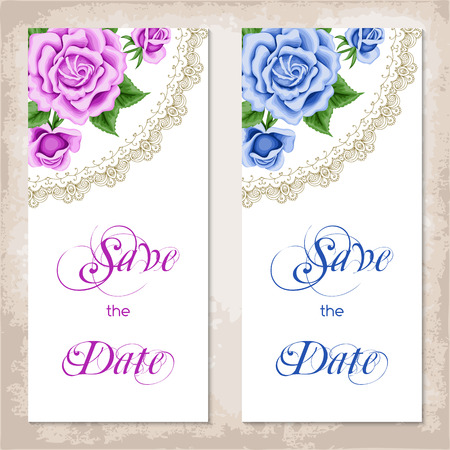 Vintage invitation template with roses. Shabby chic. Vector illustration