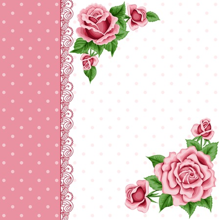 Vintage flower card with colorful roses and lace border. Shabby chic. Vector Illustration