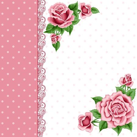 Weinleseblumenkarte mit bunten Rosen und Spitze Grenze. Shabby chic. Vector Illustration Standard-Bild - 41617120