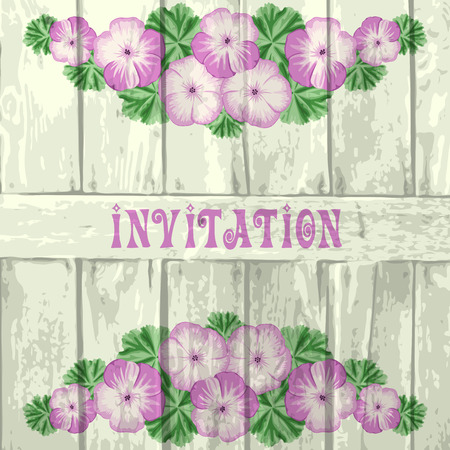 Vintage invitation, greeting card template with geraniums  and wood. Vector illustration.