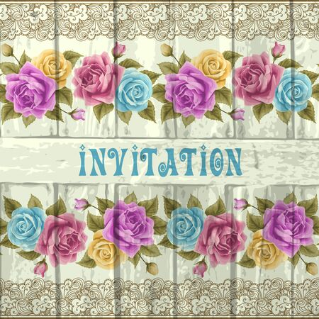 grunge floral: Vintage wedding invitation with roses and wood. Vector illustration. Save the date design Illustration