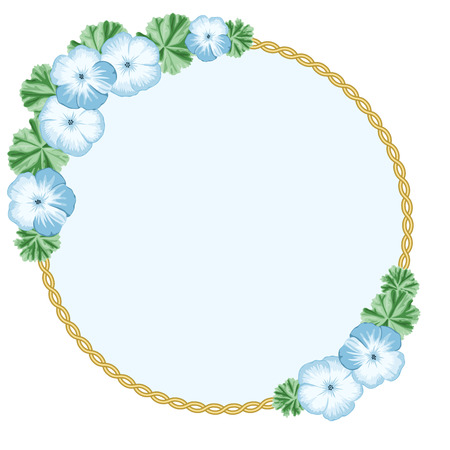 Vintage flower frame with geraniums and ellipse frame. Place for your text. Greeting card, invitation template. Vector Illustration