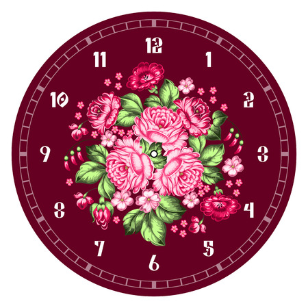 Russian style clock face. Russian handicraft. Zhostovo painting. Hand drawn vector illustration
