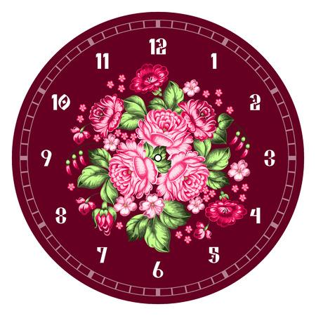 Russian style clock face. Russian handicraft. Zhostovo painting. Hand drawn vector illustration
