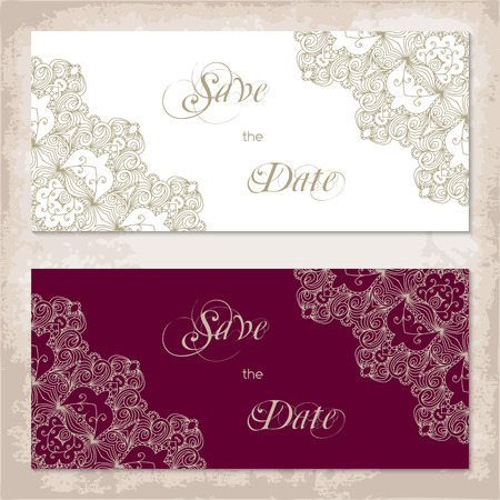 gold lace: Vintage invitation template with gold lace corners. Vector illustration Illustration