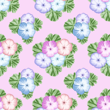 Vintage seamless pattern with pink geraniums on white background. Vector illustration