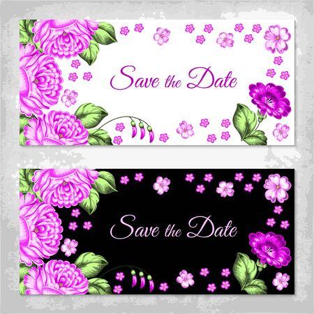 rekodzielo: Russian style invitation template. Russian handicraft. Zhostovo painting. Save the date design. Hand drawn vector illustration