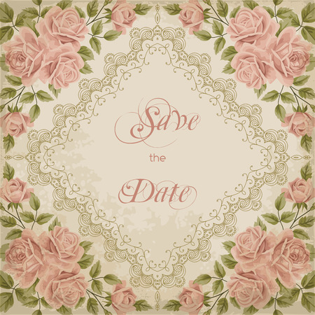 Vintage wedding invitation with roses and lace border on old paper background. Save the date design. Hand drawn vector illustration Иллюстрация