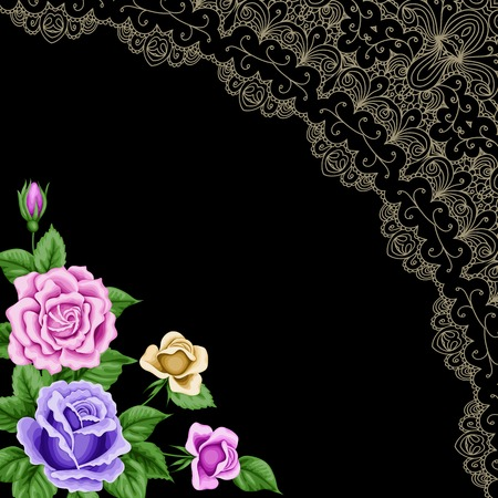 Vintage frame with roses and lace corner on black background. Place for your text. Invitation, greeting card template