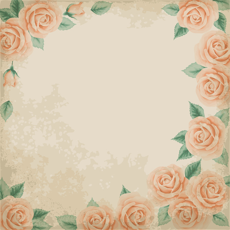 vintage paper: Retro background with colorful roses and old paper. Place for your text. Shabby chic vector illustration.