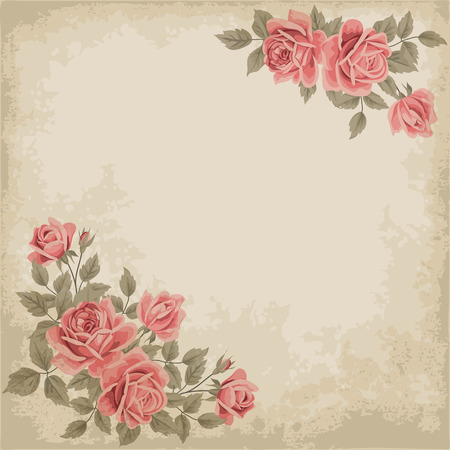 Retro background with colorful roses and old paper. Place for your text. Shabby chic vector illustration.