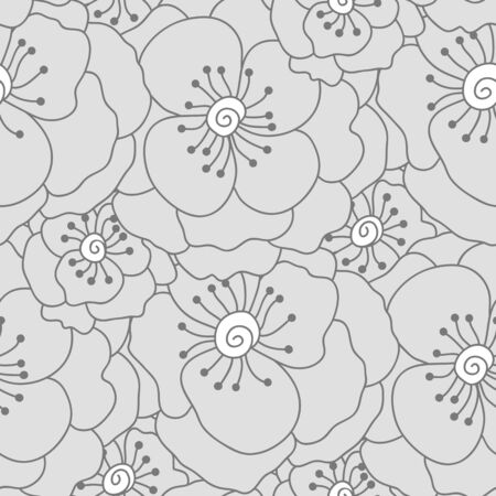 Vector seamless pattern. Hand drawn floral texture. Soft delicate flowers Illustration