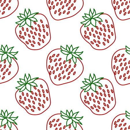 Strawberries seamless hand drawn vector pattern with white background