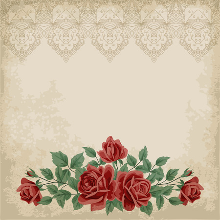 Retro Background With Colorful Roses And Old Paper Place For
