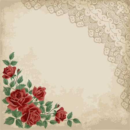 corner: Retro background with colorful roses, lace corner and old paper. Shabby chic vector illustration.